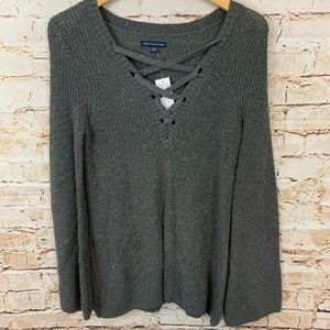 American Eagle Gray Lace Up Sweater NWT